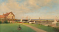 Fine Art - Painting, American:Antique  (Pre 1900), Francis Augustus Silva (American, 1835-1886). Beers Cottage -Far Rockaway, circa 1883. Oil on canvas. 24 x 44 inches (6...