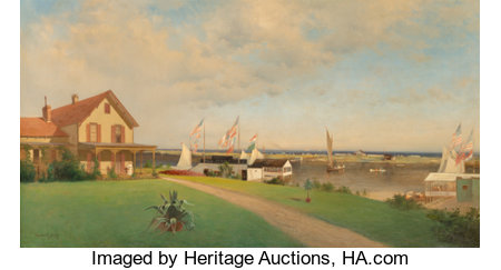 Francis Augustus Silva (American, 1835-1886) Beers Cottage - Far Rockaway, circa 1883 Oil on canvas 24 x 44 inches (6...