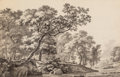 Fine Art - Work on Paper:Drawing, Jean-Louis Demarne (French, 1750-1829). Wooded Landscape withFigures and Cattle. Ink on paper. 8-1/4 x 12-3/4 inches (2...