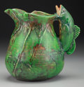 Ceramics & Porcelain, American:Modern  (1900 1949)  , A Weller Coppertone Ceramic Pitcher with Fish-Form Handle,Zanesville, Ohio, circa 1925. 7-1/2 inches high (19.1 cm). PROP...