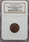 Errors, 1975-D 5C Jefferson Nickel -- Struck on a 1C Planchet (3.1g) -- MS64 Red and Brown NGC....