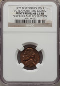 Errors, 1973-D 5C Jefferson Nickel -- Struck on a 1C Planchet (3.07g) -- MS62 Red and Brown NGC. Ex: New England Collection....