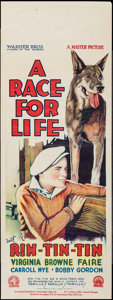 """Movie Posters:Adventure, A Race for Life (Warner Brothers, 1928). Australian Pre-War Daybill(15"""" X 40""""). Adventure.. ..."""