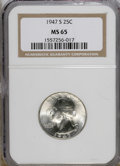 Washington Quarters: , 1947-S 25C MS65 NGC. NGC Census: (1045/2368). PCGS Population(1525/1449). Mintage: 5,532,000. Numismedia Wsl. Price for NG...