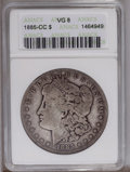 Morgan Dollars: , 1885-CC $1 VG8 ANACS. NGC Census: (0/5407). PCGS Population (5/13827).Mintage: 228,000. Numismedia Wsl. Price: $261. (#7160...