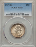 Washington Quarters, 1937-D 25C MS67 PCGS. PCGS Population (66/0). NGC Census: (25/0).Mintage: 7,189,600. Numismedia Wsl. Price for problem fre...