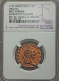 1773 1/2 P Virginia Halfpenny, With Period -- Improperly Cleaned -- NGC Details. UNC. N.13-T, R.6. NGC Census: (0/95). P...