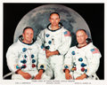 Autographs:Celebrities, Neil Armstrong Signed Apollo 11 White Spacesuit Crew ColorPhoto....