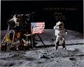 """Autographs:Celebrities, John Young Signed Large Lunar Surface """"Leaping Salute"""" Color Photo,with COA...."""