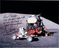 Autographs:Celebrities, Gene Cernan Signed Large Apollo 17 Lunar Surface LM & LRV ColorPhoto....