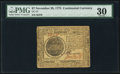Colonial Notes:Continental Congress Issues, Continental Currency November 29, 1775 $7 PMG Very Fine 30.. ...