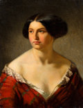 Paintings, French School (19th Century). Portrait of a Young Woman in Red. Oil on canvas. 24 x 18-1/2 inches (61.0 x 47.0 cm). ...