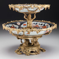 A Continental Gilt Bronze Mounted Japanese Imari Porcelain Two-Tier Tazza, circa 1890 10-3/4 h x 12 d inches (27.3
