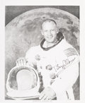 Autographs:Celebrities, Buzz Aldrin Signed White Spacesuit Photo....