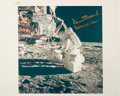 "Explorers:Space Exploration, Alan Bean Signed Original ""Red Number"" Lunar Surface Color Photo. ..."