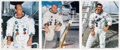 Autographs:Celebrities, Apollo 12 Crew: Individual Signed White Spacesuit Color Photos....(Total: 3 Items)