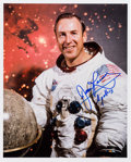Autographs:Celebrities, James Lovell Signed White Spacesuit Color Photo. ...