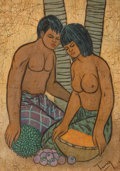 Fine Art - Work on Paper, Chuah Thean Teng (Malaysian, 20th Century). Couple withFruit. Batik. 22-1/4 x 16-3/4 inches (56.5 x 42.5 cm). Signedlo...