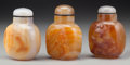 Asian:Chinese, Three Chinese Carved Agate Snuff Bottles. 3 inches high (7.6 cm).... (Total: 3 Items)