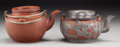 Asian:Chinese, Two Chinese Yixing Pottery Teapots. Marks: (impressed character marks). 4-1/2 inches high (11.4 cm) (taller). ... (Total: 2 Items)