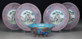 Asian:Chinese, Five Chinese Export Enameled Copper Dishes. 7-1/2 inches diameter(19.1 cm) (plates). ... (Total: 5 Items)