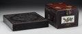 Asian:Chinese, A Chinese Wooden Box and Dressing Cabinet, early 20th century. 5-7/8 h x 7-1/8 w x 9-1/4 d inches (14.8 x 18.1 x 23.5 cm) (... (Total: 2 Items)