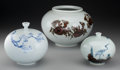 Asian:Other, Three Korean Painted Porcelain Vases, 20th century. Marks: (character marks to undersides). 6-1/2 inches (highest) (16.5 cm)... (Total: 3 Items)