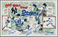 Baseball Collectibles:Others, 1949 Brooklyn Dodgers and New York Yankees Multi-Signed Print....