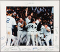 Baseball Collectibles:Photos, 1996 New York Yankees Team Signed Oversized Photograph Display -World Championship Season....