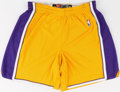 Basketball Collectibles:Uniforms, Circa 2005 Metta World Peace (Ron Artest) Game Worn Los AnegelsLakers Shorts....