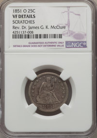 1851-O 25C -- Scratches -- NGC Details. vf. NGC Census: (3/17). PCGS Population (6/37). Mintage: 88,000. Numismedia Wsl...
