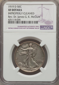 1919-D 50C -- Improperly Cleaned -- NGC Details. XF. NGC Census: (16/341). PCGS Population (38/411). Mintage: 1,165,000...