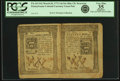 Colonial Notes:Pennsylvania, Pennsylvania March 20, 1773 Uncut Pair of 14 Shillings-16 ShillingsBlue Counterfeit Detectors Fr. PA-161DT-162DT. PCGS Very F...
