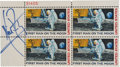 """Autographs:Celebrities, Neil Armstrong Signed """"First Man on the Moon"""" Plate Block...."""