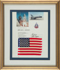 Explorers:Space Exploration, Space Shuttle Columbia (STS-1) Flown American Flag onPresentation Certificate, in Framed Display.... (Total: 2 Items)