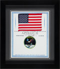 Explorers:Space Exploration, Apollo 11 Flown American Flag Originally from the PersonalCollection of Mission Lunar Module Pilot Buzz Aldrin in FramedDisp...