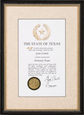 """Explorers:Space Exploration, Gene Cernan's """"Honorary Texan"""" Award Plaque Originally from HisPersonal Collection, in Framed Display, with COA. ..."""