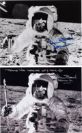 Autographs:Celebrities, Alan Bean Signed Lunar Surface Photos (Two), One a Fantasy Image.... (Total: 2 Items)