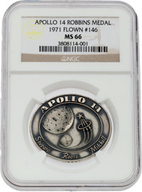 Apollo 14 Flown MS66 NGC Silver Robbins Medallion, Serial Number 146, Originally from the Personal Collection of Moonwal...