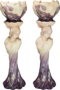 Ceramics & Porcelain, A Pair of Delphin Massier Art Nouveau Ceramic Figural Jardinières and Pedestals, Vallauris, France, circa 1900. Marks: DEL... (Total: 4 Items)