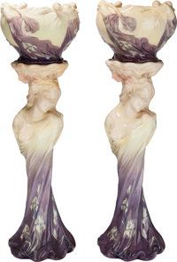 A Pair of Delphin Massier Art Nouveau Ceramic Figural Jardinières and Pedestals, Vallauris, France, circa 1900 Ma...