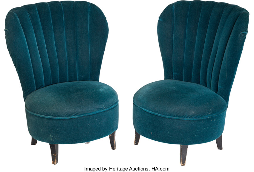 A Pair of Blue Velvet Upholstered Bedroom Chairs, circa 1930 ...