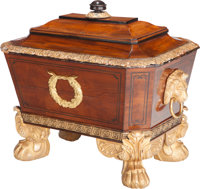 A George II-Style Walnut and Giltwood Cellarette with Gilt Bronze Mounts, early 20th century 27-1/2 h x 31 w x 21