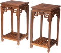 Asian:Chinese, A Pair of Chinese Carved Hardwood Side Tables. 30-3/4 h x 16-1/2 wx 15-1/4 d inches (78.1 x 41.9 x 38.7 cm). ... (Total: 2 Items)