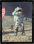 "Explorers:Space Exploration, Alan Bean Signed Limited Edition ""John Young Leaps Into History""Giclée Canvas, #58/100, in Framed Display. ..."