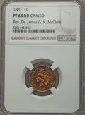 Proof Indian Cents, 1881 1C PR64 Red Cameo NGC. NGC Census: (1/3). PCGS Population (1/10).. From The Rev. Dr. James G. K. McClure Collection....