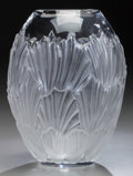 Art Glass:Lalique, A Lalique Clear and Frosted Glass Sandrift Vase, circa 1997.Marks: Lalique, France. 8 inches high (20.3 cm)...