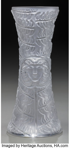 A Lalique Clear And Frosted Glass Psyche Bud Vase Post Lot 64230