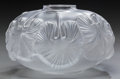 Art Glass:Lalique, A Lalique Clear and Frosted Glass Nympheas Low Vase, circa1990. Marks: Lalique, France. 3-1/2 inches high (...
