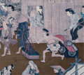 Fine Art - Work on Paper:Print, Gukei (Sumiyoshi Hirozumi) (Japanese, 1631-1705). Group of Four Urban and Suburban Scenes. Offset lithographs. 12 x 13 i... (Total: 4 Items)